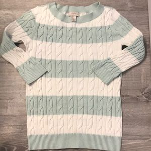 Loft green and white sweater